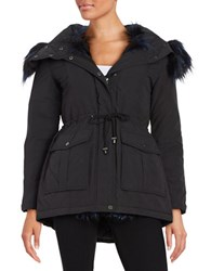 French Connection Faux Fur Trimmed Hooded Parka Black