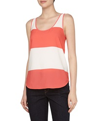 French Connection Wide Stripe Flowy Tank White Party Pink