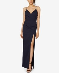 Fame And Partners Crepe Laced Side Gown Navy