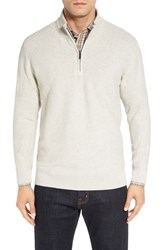 Cutter And Buck Men's 'Benson' Quarter Zip Textured Sweater Limestone Heather