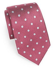 Saks Fifth Avenue Black Polka Dot Silk Tie Burgundy