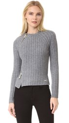 Dsquared Pullover With Zipper Detail Grey Melange