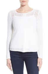 Petite Women's Nic Zoe 'Sheer Illusion' Open Stitch Sweater Paper White