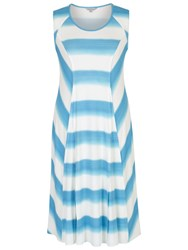 Chesca Ombre Stripe Chevron Jersey Dress Ivory Turquoise