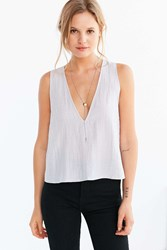 Silence And Noise Silence Noise Jen Deep V Shell Tank Top Light Grey