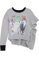 Maison Martin Margiela Ruffled Printed Wool And Cotton Blend Jersey Sweatshirt Gray