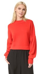 Tibi Pleated Sleeve Cashmere Sweater Ribbon Red