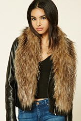Forever 21 Faux Fur Oblong Scarf Tan Brown