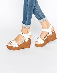 Miss Kg Pedro Buckle Flatform Wedges White Synthetic