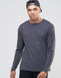 Jack And Jones Long Sleeve T Shirt With Distressed Detail Asphalt Grey