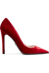 Prada Velvet Pumps Red