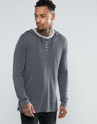 Asos Longline Knitted Hoody With Lace Up Front Grey