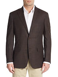 Ike Behar Mini Check Wool And Silk Blazer Brown