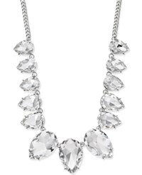 Thalia Sodi Silver Tone Teardrop Crystal Necklace Only At Macy's