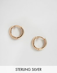 Asos Rose Gold Plated Sterling Silver 7Mm Chunky Hoop Earrings Rose Gold Plated Copper