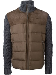 Eleventy Cable Knit Sleeve Padded Jacket Brown