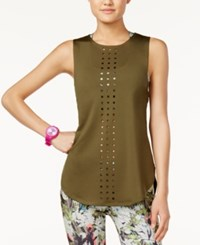 Energie Active Juniors' Lark Laser Cut Sporty Tank Top Olive Night