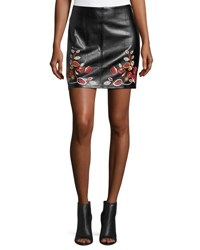 Free Generation Floral Embroidered Faux Leather Mini Skirt Black
