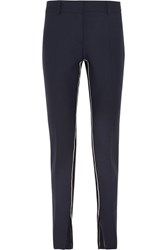 Cedric Charlier Striped Twill Slim Leg Pants Navy