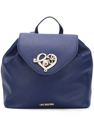 Love Moschino Heart Plaque Backpack Blue