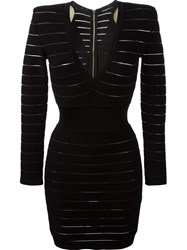 Balmain Deep V Neck Fitted Dress Black