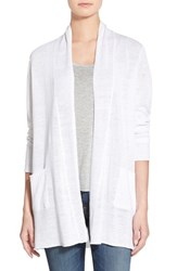 Women's Eileen Fisher Organic Linen Straight Long Cardigan White