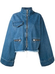 Marques Almeida Marques'almeida Flared Sleeves Zipped Jacket Blue