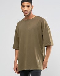 Religion 3 4 Sleeve Crew Neck Sweat With Drop Shoulder Detail Modern Khaki Green