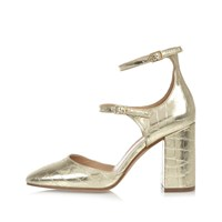 River Island Womens Gold Double Strap Block Heel Shoes