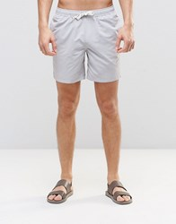 Asos Mid Length Swim Shorts In Grey With Drawcord Detail Grey