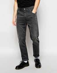 Asos Stretch Tapered Jeans In Washed Black Washedblack