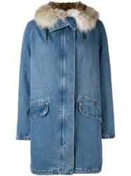 Army Yves Salomon Oversized Denim Parka Blue
