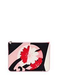 Alexander Mcqueen Large Printed Silk Satin Pouch Black Pink Red