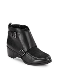 Anne Klein Jeffrey Calf Hair And Leather Ankle Boots Black