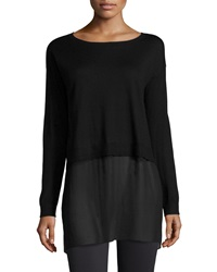 Eileen Fisher Featherweight Cashmere Box Top With Silk Block
