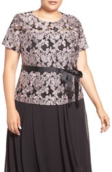 Alex Evenings Plus Size Women's Short Sleeve Embroidered Lace Blouse Black Rose
