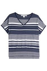 Diane Von Furstenberg Silk Cotton Boxy Knit Top Stripes