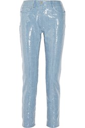Moschino Sequined Denim Straight Leg Jeans Blue