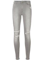 7 For All Mankind Light Distressed Skinny Jeans Grey