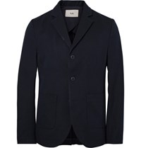 Folk Blue Unstructured Cotton Blend Twill Blazer Midnight Blue
