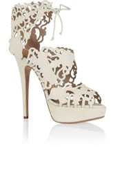 Charlotte Olympia Belinda Cutout Suede Sandals Ivory