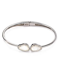 Nadri Sterling Silver And Mother Of Pearl Two Stone Hinged Bangle Sterling Silver Mother Of Pearl