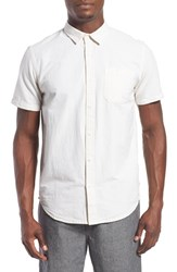 Men's Tavik 'Maison' Short Sleeve Stripe Woven Shirt Optic White