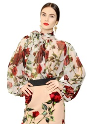 Dolce And Gabbana Rose Printed Sheer Silk Chiffon Shirt White Red
