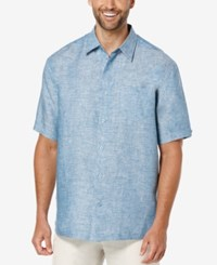 Cubavera Men's Crosshatch Linen Short Sleeve Shirt Blue Sapphire