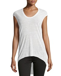 Helmut Lang Cowl Back High Low Tee White