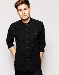 Asos Oxford Shirt In Long Sleeve With Lightweight Nep Black