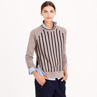 J.Crew Merino Double Zip Baseball Sweater In Stripe
