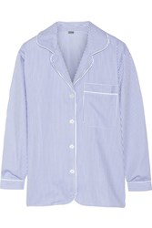 Bodas Striped Seersucker Cotton Pajama Top Blue