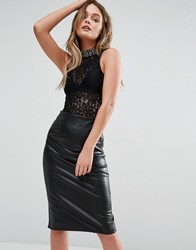 New Look Lace Embellished High Neck Body Black